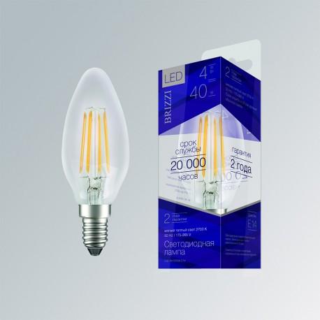 Лампа светодиодная Brizzi C35 4W 2700K E14